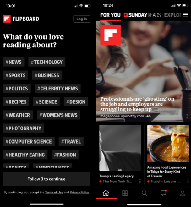 Flipboard, one of the best Apple apps for news