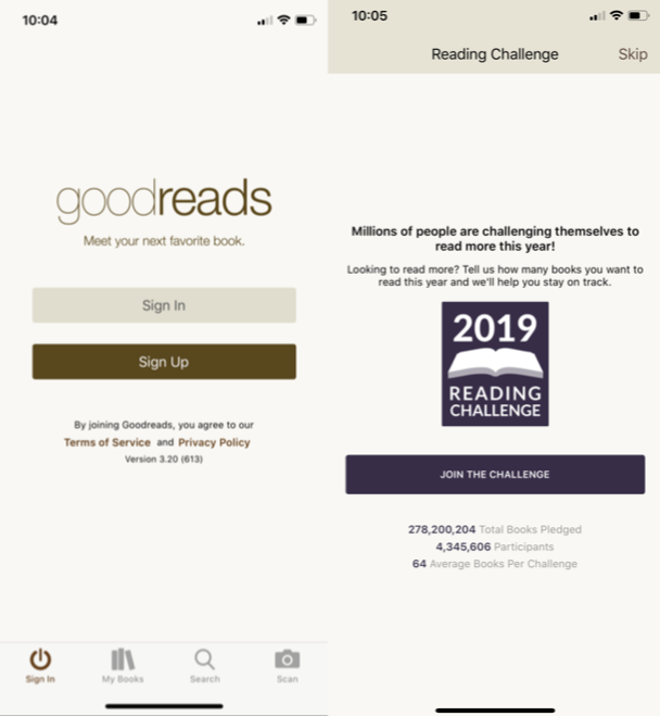 Goodreads, one of the essential iPhone apps to start reading more