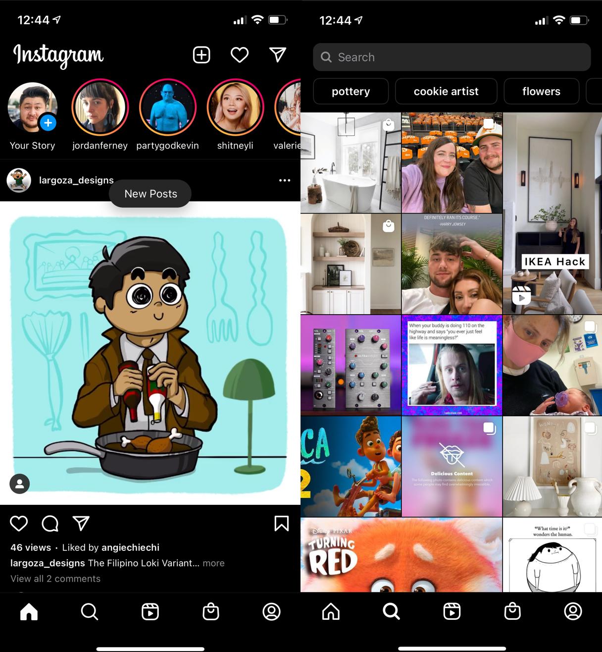 instagram application screenshots