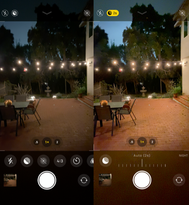 iPhone 11 camera shooting with and without Night mode