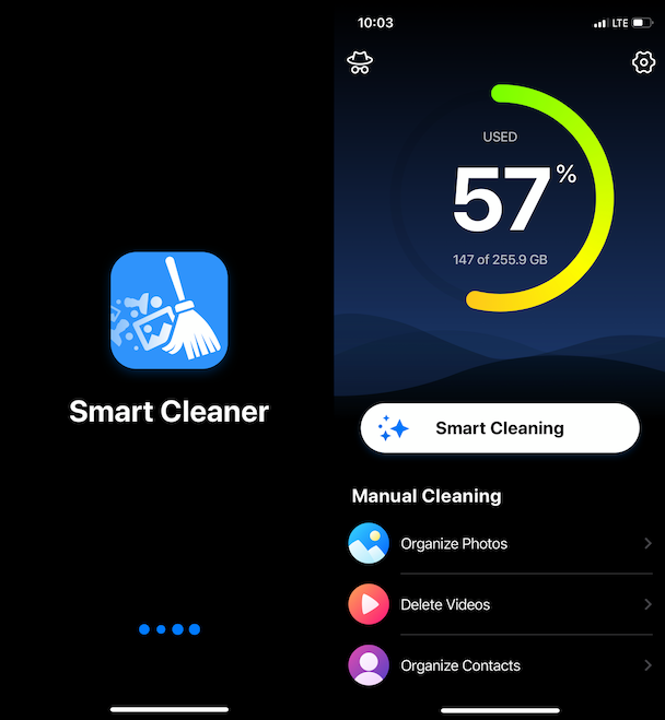 Screenshots of Smart Cleaner, a cleaner app for iPhone