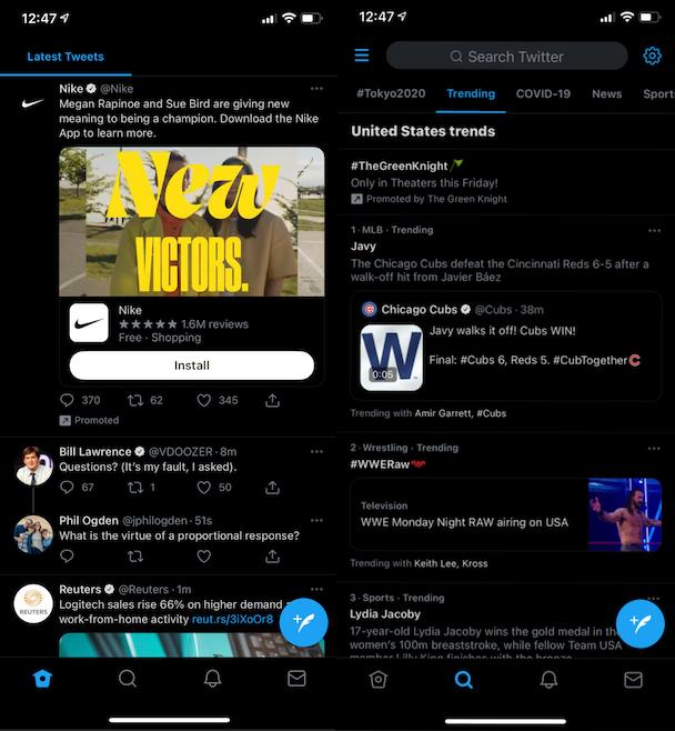 Twitter app screenshots