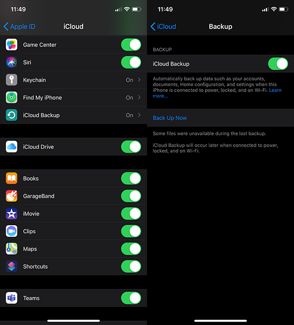 Screenshots: Back up your iPhone to iCloud before installing the iOS update