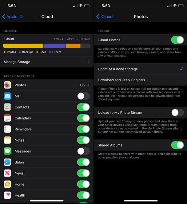 How to turn on iCloud photo sync on iPhone