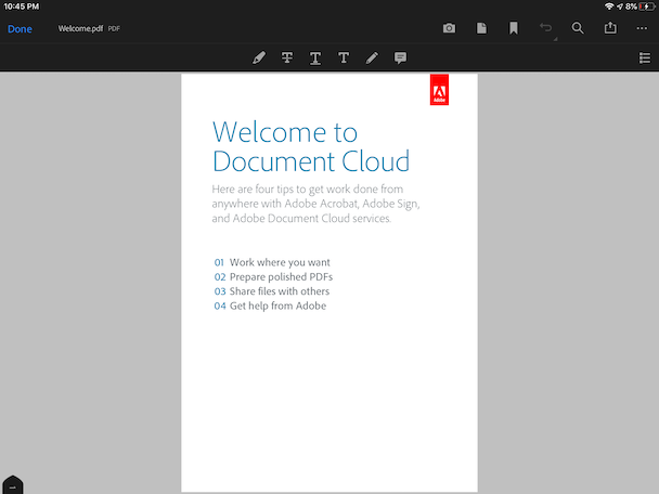 Adobe Acrobat, the number one PDF reader for iPad