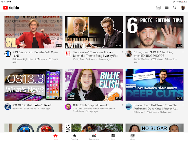YouTube, the number one video app for iPad