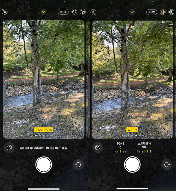 Screenshots of photographic styles on the iPhone 13 Pro camera