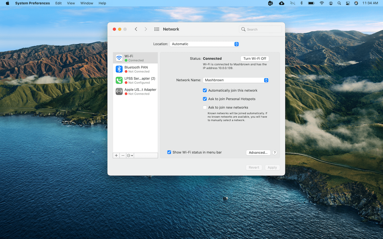 How to check network connection on Mac