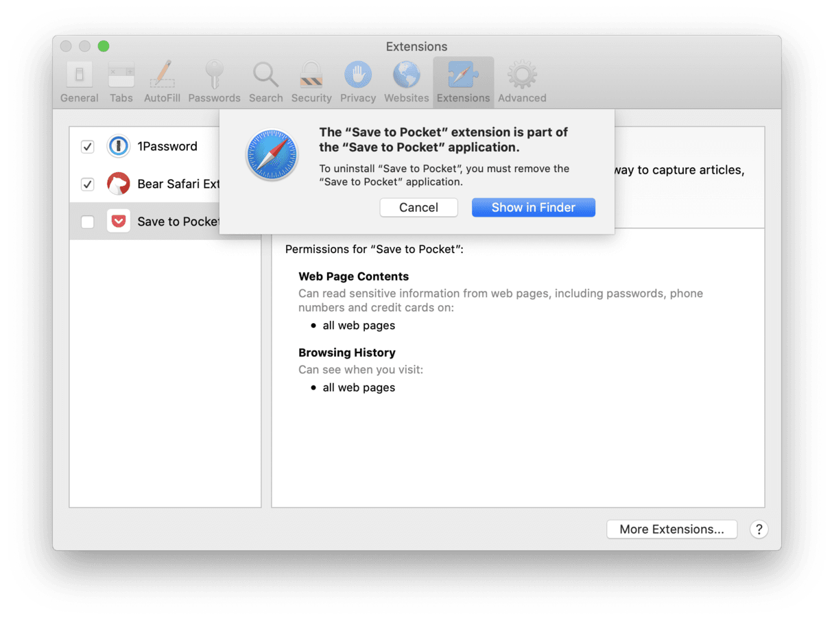 Uninstall Safari extensions