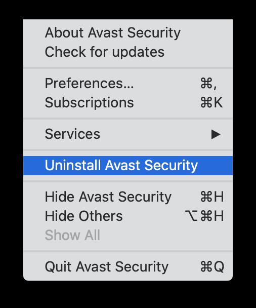 Uninstall Avast Security