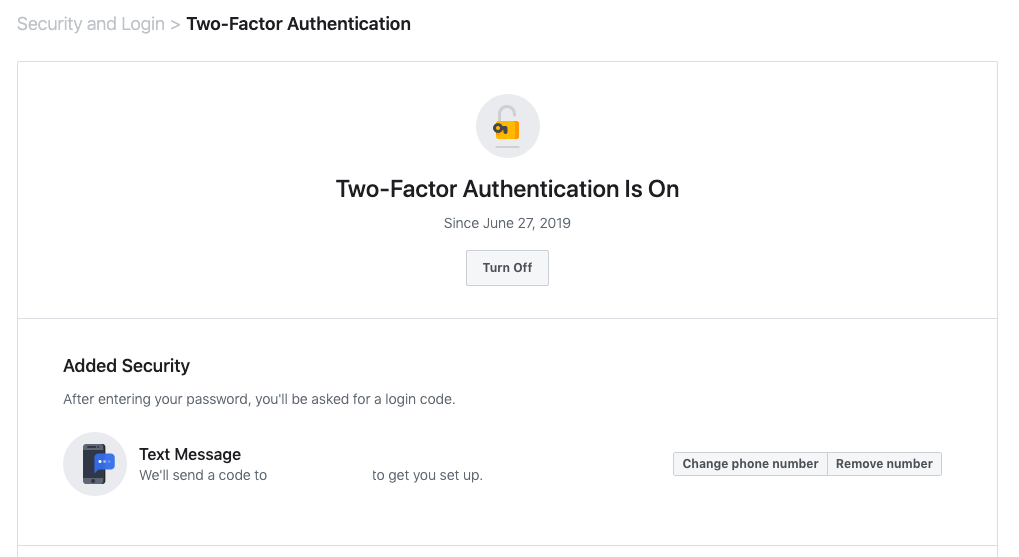 two-factor authentication in Facebook