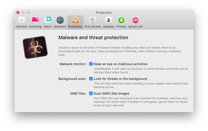 CleanMyMac X also has real-time protection to scan your system in the background