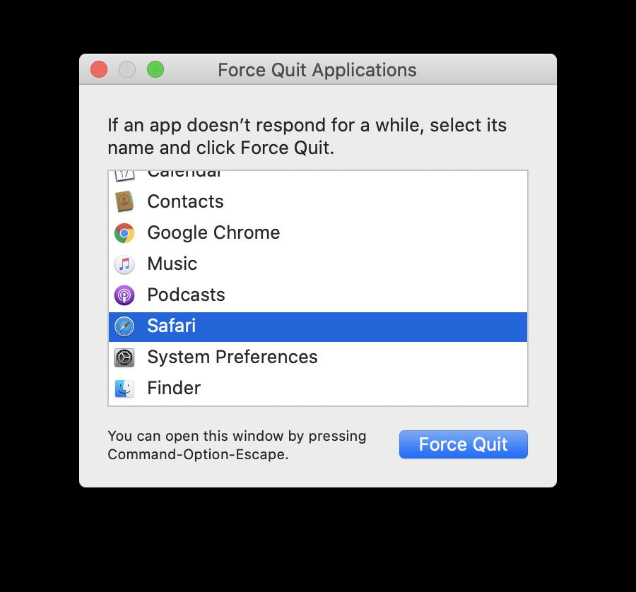 Force Quit button