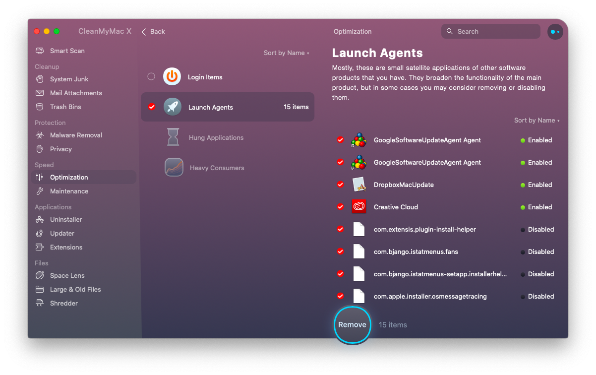 Disable Launch Agents by using CleanMyMac X