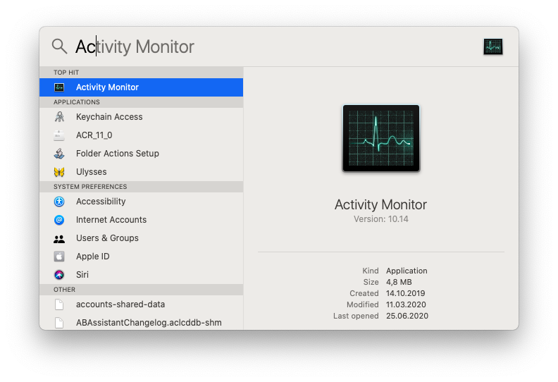 Launch the Activity Monitor