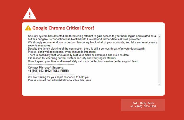 Google Chrome Critical Error message a scam