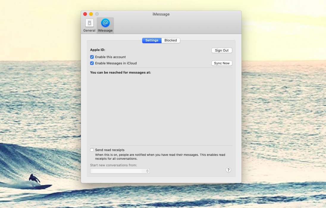 Enable iMessage and check your contact info