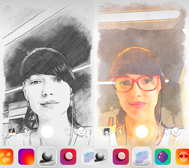The face filters and effects for selfies in Instagram Stories