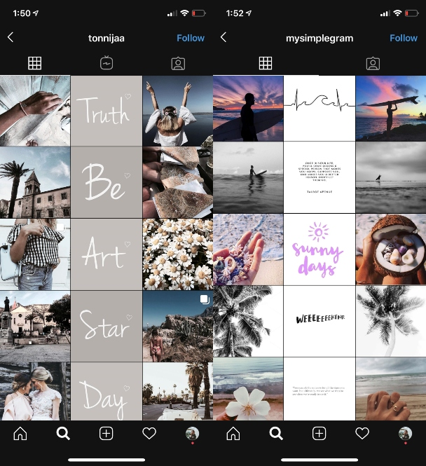 Instagram grid template: Down the middle