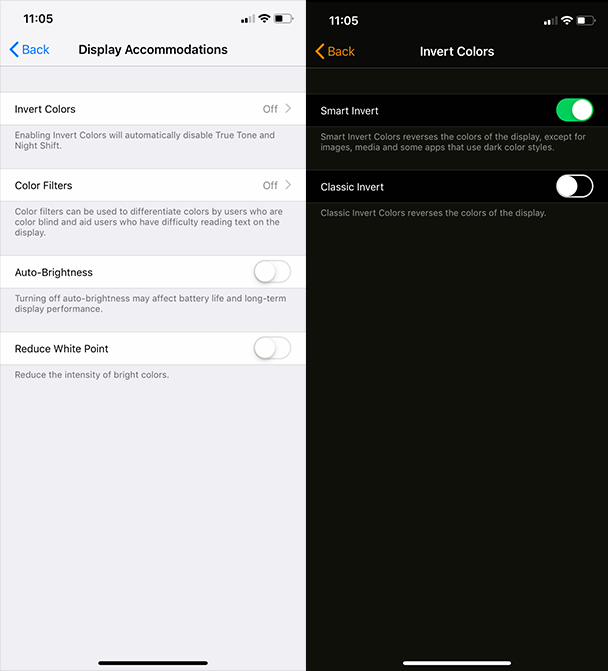 How to emulate iPhone Dark Mode in iOS 12 and earlier