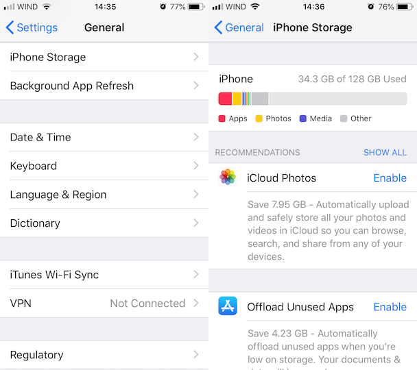 iPhone storage almost full? Follow the iOS recommendations