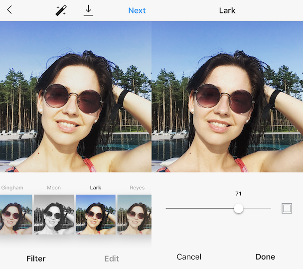 Lark, the best Insta filter for selfies