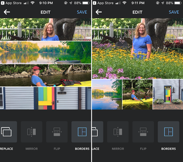 Screenshots of Layout, Instagram's collage maker