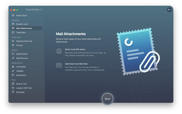 CleanMyMac X - Módulo de archivos adjuntos de correo