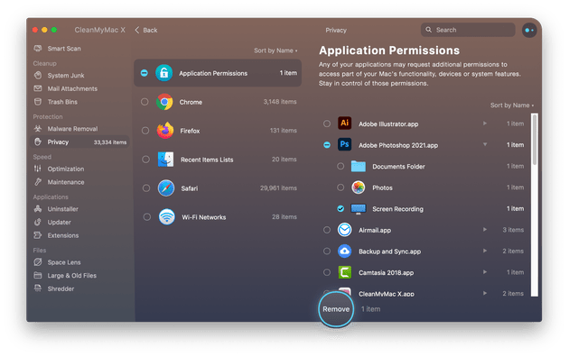 CleanMyMac X - Privacy module