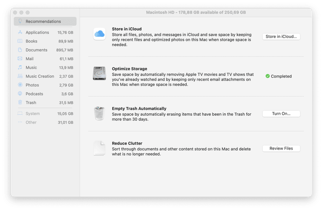 How to optimize the storage on Mac?