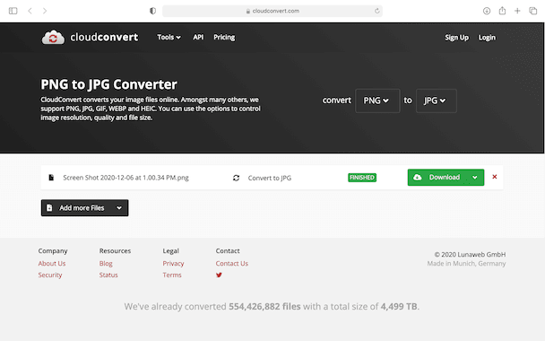 Cloudconvert screenshot