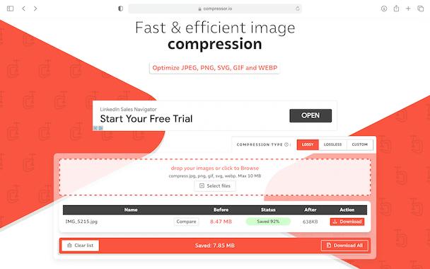 Captura de pantalla de Compressor.io