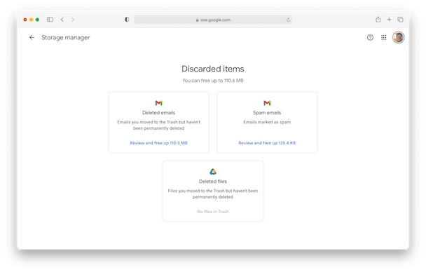 How to remove discarded items in Google Drive