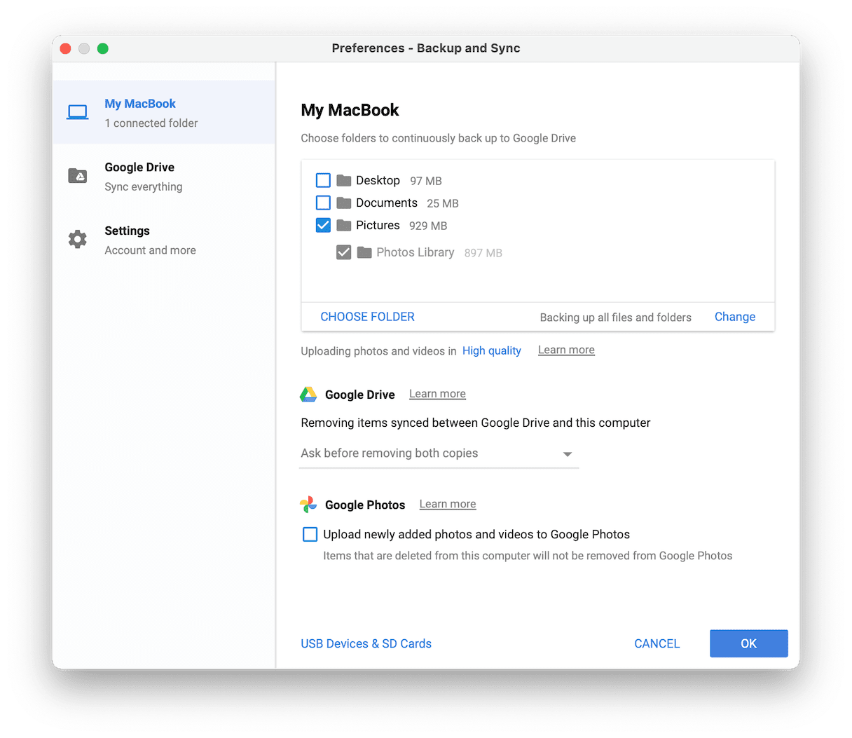 How to use backup and sync option