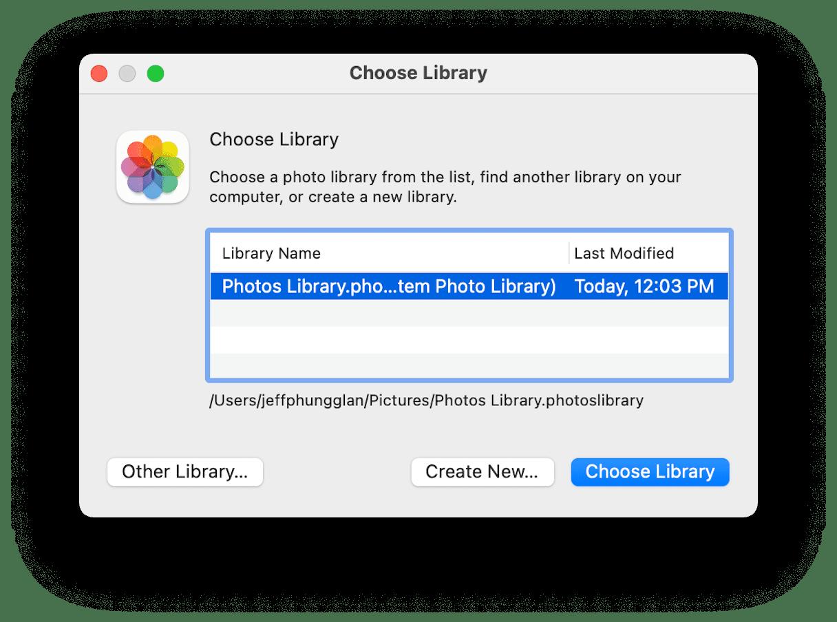 Choosing iCloud library
