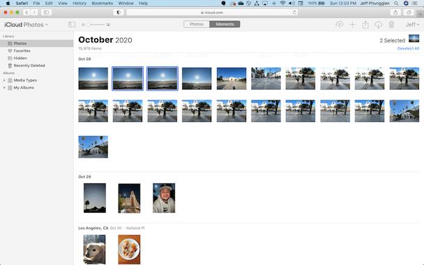 iCloud photos interface