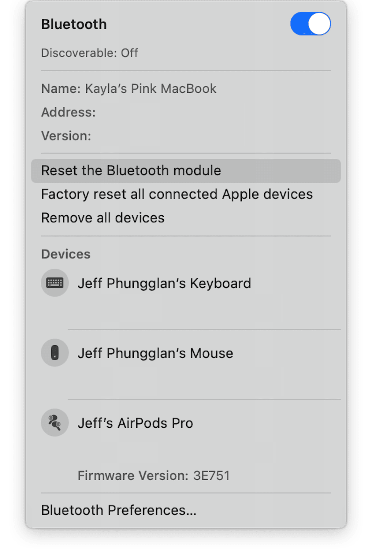 How to reset the Bluetooth module