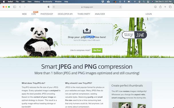 Captura de pantalla de Tinypng