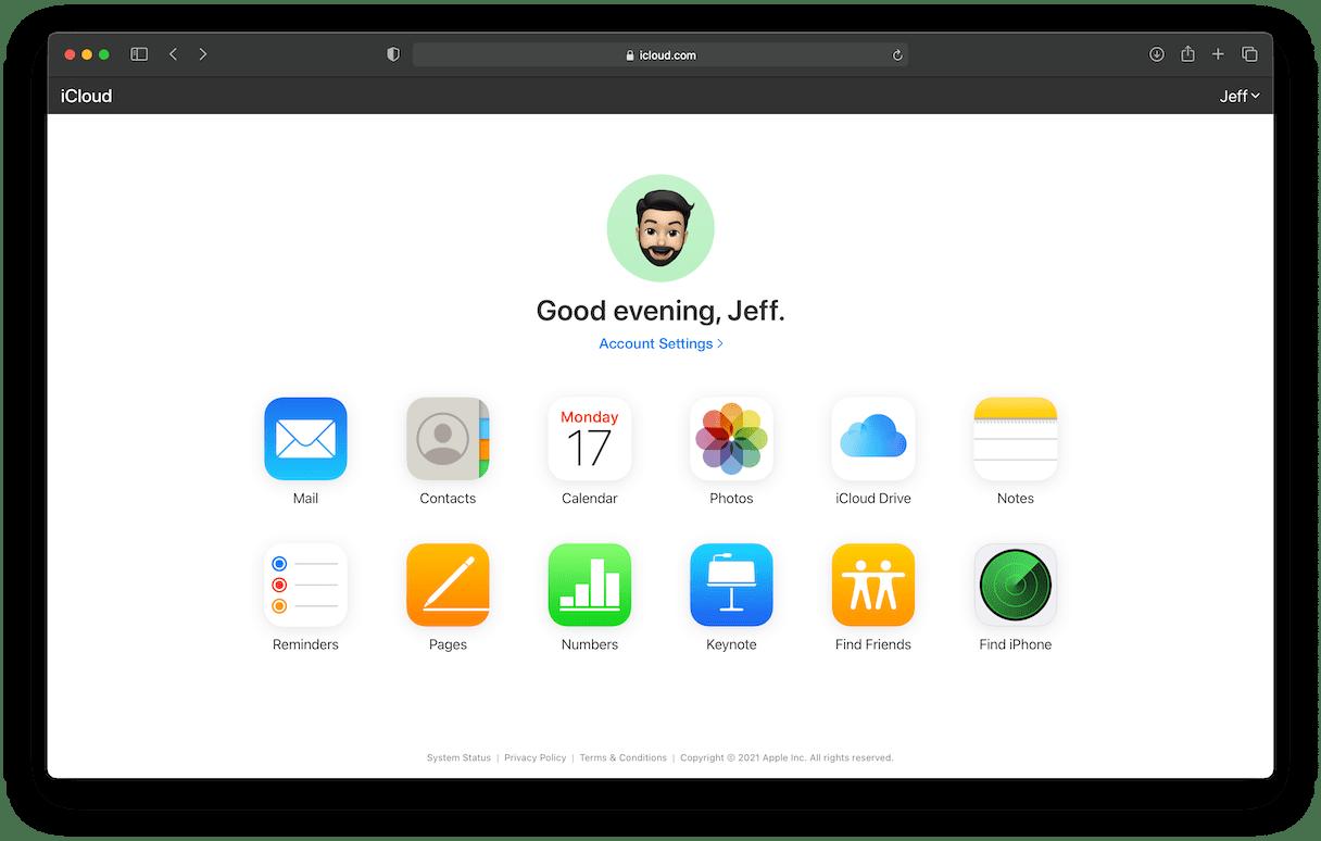 iCloud interface