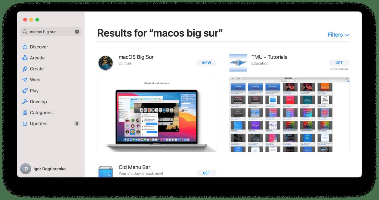 macOS Big Sur installer in AppStore