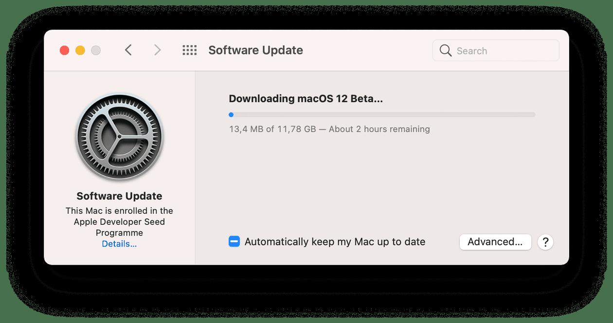 Downloading macOS beta window