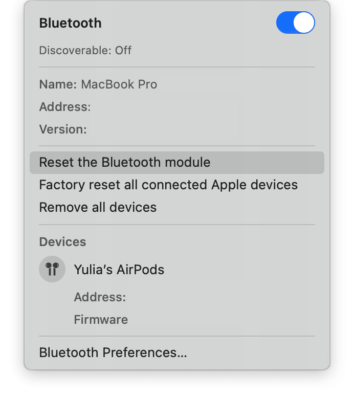 How to reset the Bluetooth
