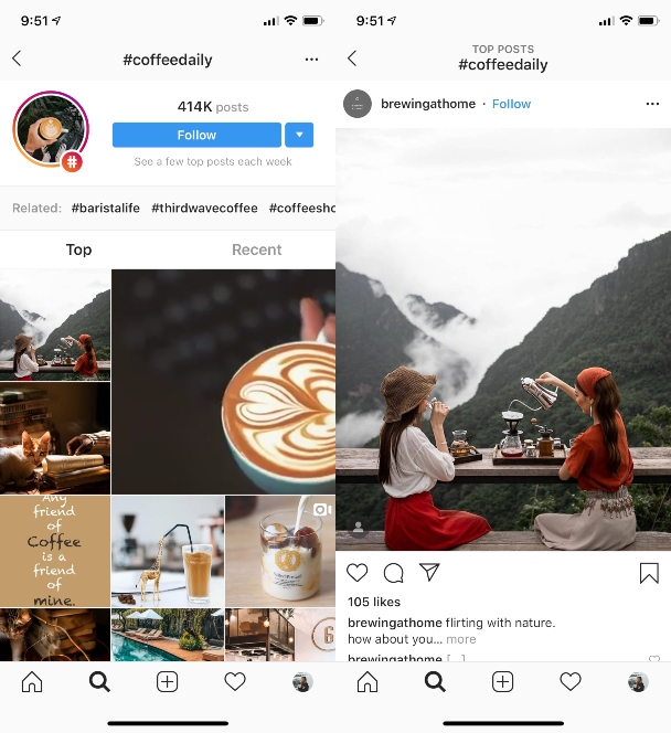 Screenshots: Follow new accounts to increase your Instagram likes