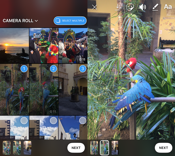 How to add multiple photos to Insta Stories
