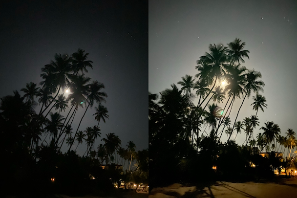 Night mode on iPhone 11: Photos taken with and without Night mode