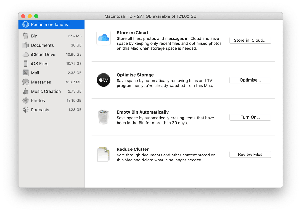 Use Apple's built-in storage management tool