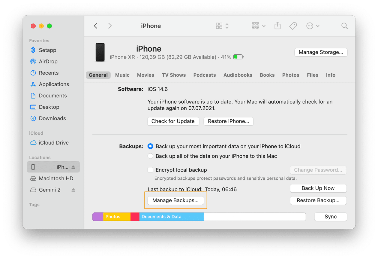 How to manage iOS backups