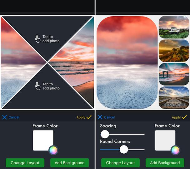 Screenshots of piZap, a photo grid app