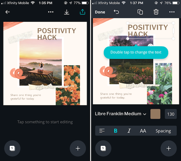 Positivity Hack, an Instagram post mockup from Canva