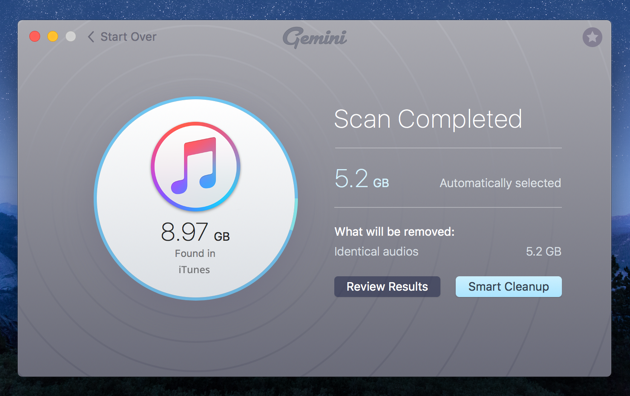 Gemini 2 - iTunes scan completed